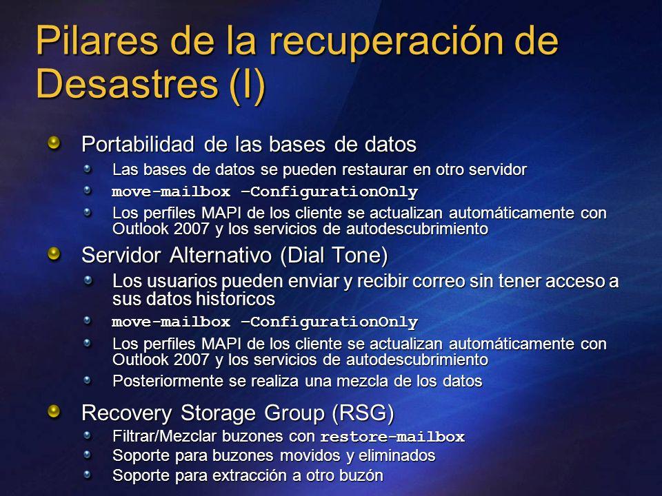 Pilares de la recuperación de Desastres (I) Portabilidad de las bases de datos Las bases de datos se pueden restaurar en otro servidor move-mailbox –C