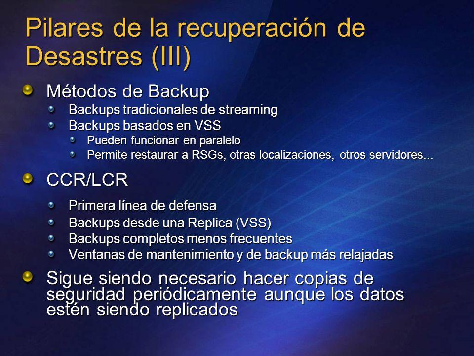 Pilares de la recuperación de Desastres (III) Métodos de Backup Backups tradicionales de streaming Backups basados en VSS Pueden funcionar en paralelo