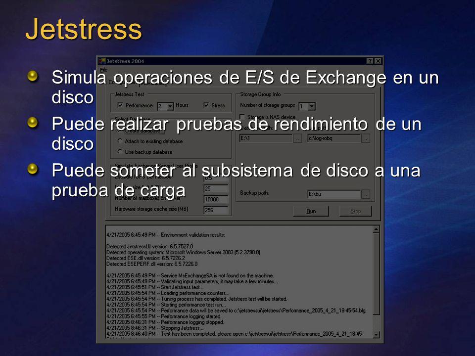 Jetstress Simula operaciones de E/S de Exchange en un disco Puede realizar pruebas de rendimiento de un disco Puede someter al subsistema de disco a una prueba de carga