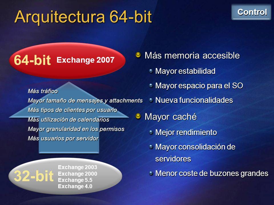 Recuperación del servidor Setup /m:recoverserver Extrae la configuración del servidor desde el AD Permite clústeres en standby Herramientas de recuperación ante desastres de la consola Solucionador de Problemas Administración de Recuperación Mejoras en las bases de datos 50 SG y 50 bases de datos (hasta 5 DDBB por SG) Lost Log Resilience (LLR) Nombres de ficheros mas largos E0012345678.log No más ficheros.STM Pilares de la recuperación de Desastres (II)