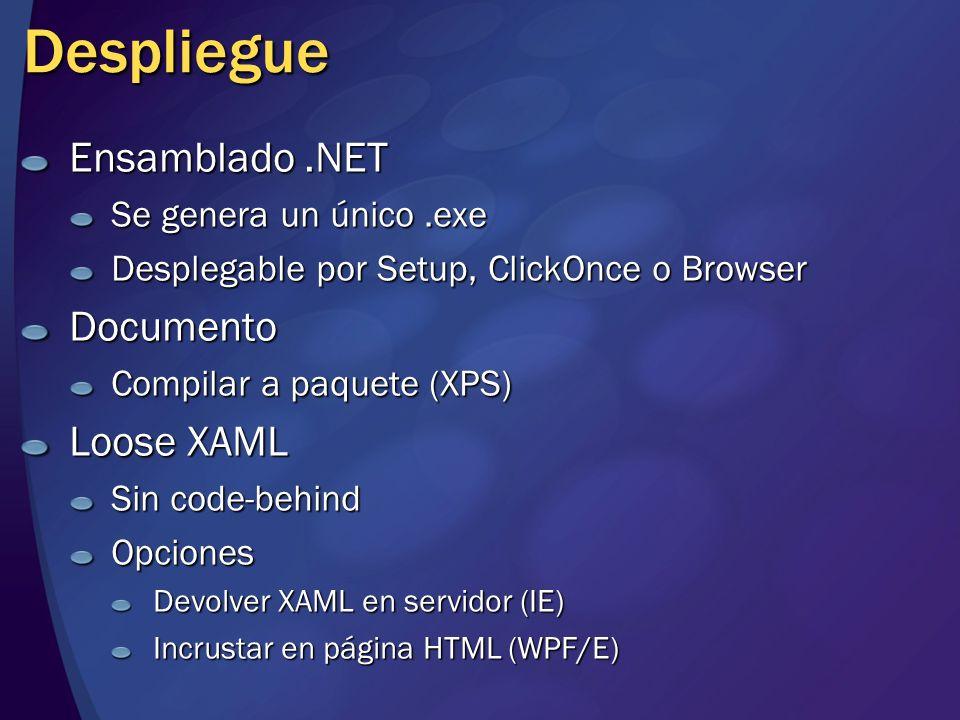 Windows Presentation Foundation Nuevo subsistema de presentación Nativo en Windows Vista Instalable en Windows XP / Windows 2003 Pila basada en Direct