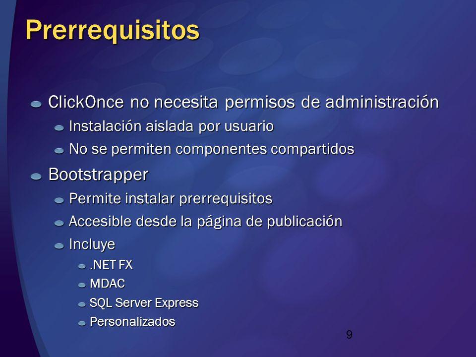 8 Experiencia de desarrollo El desarrollador crea el manifiesto de aplicación Fichero XML que define los componentes El administrador crea el manifies