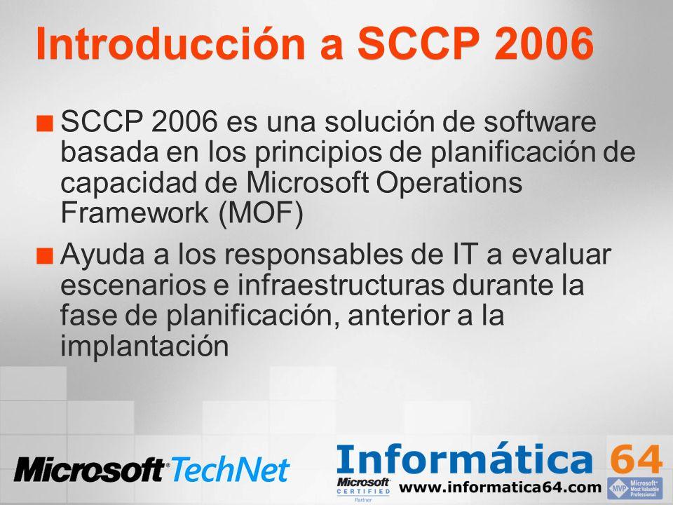 Introducción a SCCP 2006 SCCP 2006 es una solución de software basada en los principios de planificación de capacidad de Microsoft Operations Framework (MOF) Ayuda a los responsables de IT a evaluar escenarios e infraestructuras durante la fase de planificación, anterior a la implantación