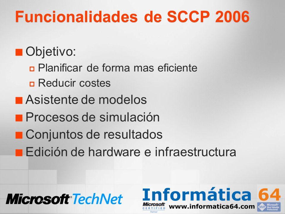 Funcionalidades de SCCP 2006 Objetivo: Planificar de forma mas eficiente Reducir costes Asistente de modelos Procesos de simulación Conjuntos de resultados Edición de hardware e infraestructura