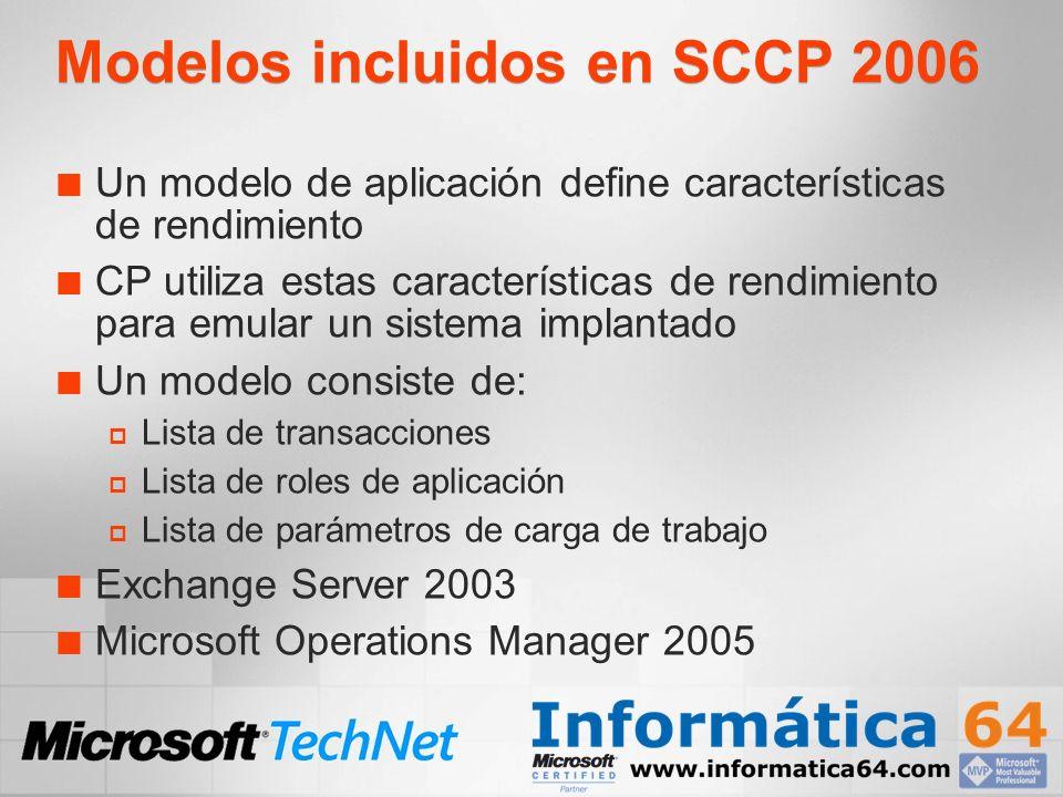 Modelos incluidos en SCCP 2006 Un modelo de aplicación define características de rendimiento CP utiliza estas características de rendimiento para emular un sistema implantado Un modelo consiste de: Lista de transacciones Lista de roles de aplicación Lista de parámetros de carga de trabajo Exchange Server 2003 Microsoft Operations Manager 2005
