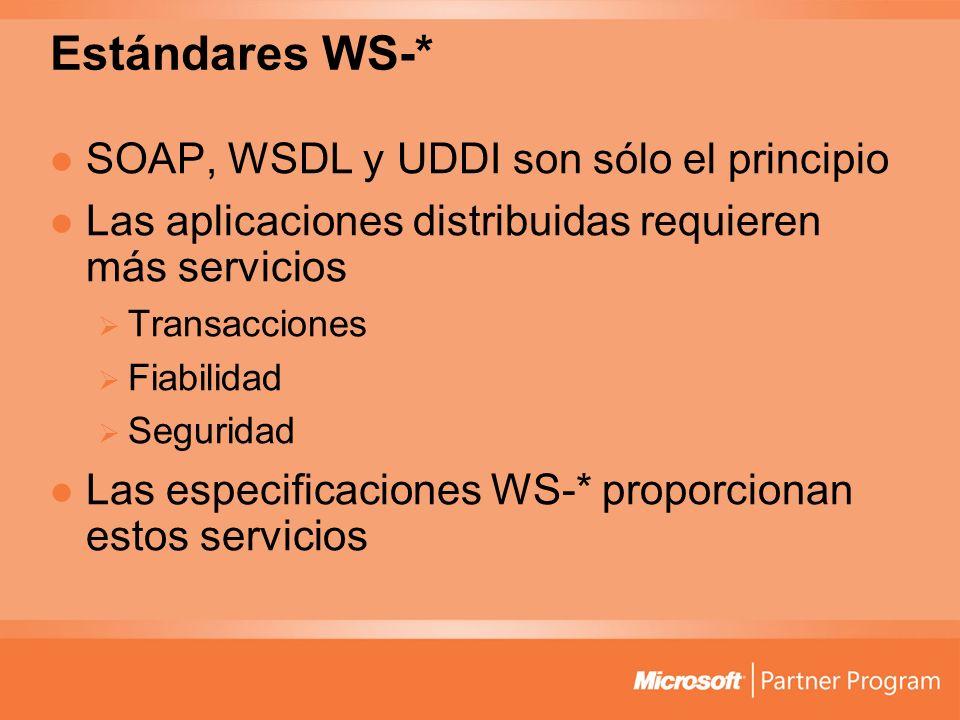 Estándares WS-* SOAP, WSDL y UDDI son sólo el principio Las aplicaciones distribuidas requieren más servicios Transacciones Fiabilidad Seguridad Las e