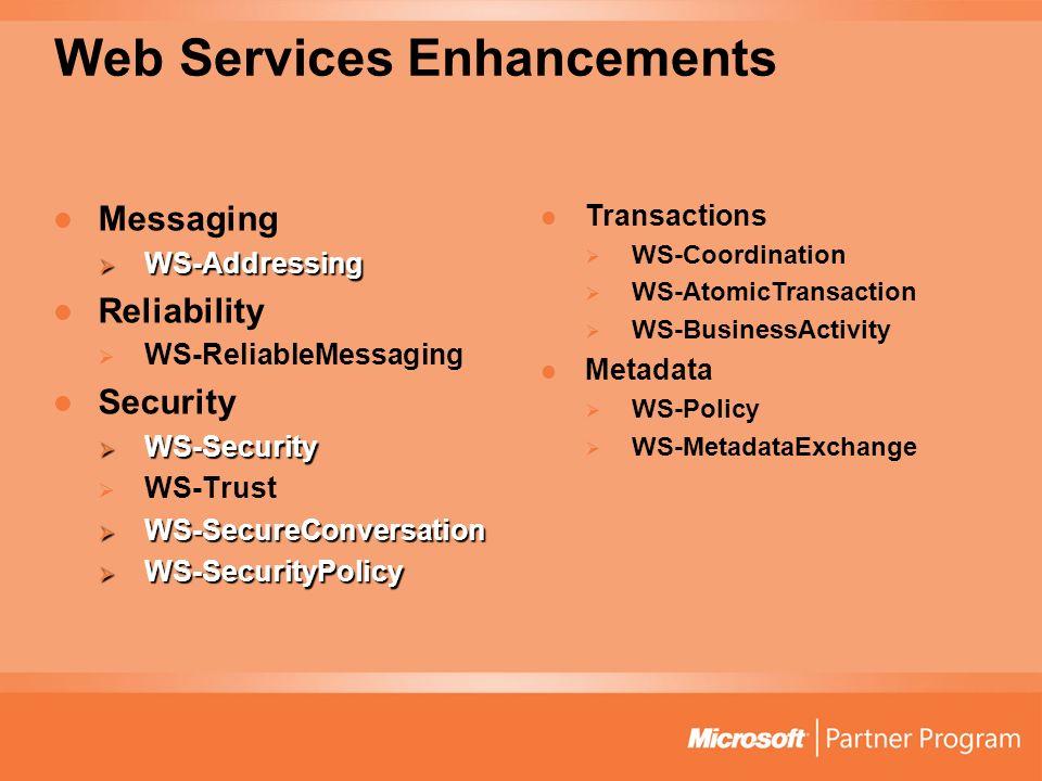Web Services Enhancements Messaging WS-Addressing WS-Addressing Reliability WS-ReliableMessaging Security WS-Security WS-Security WS-Trust WS-SecureCo