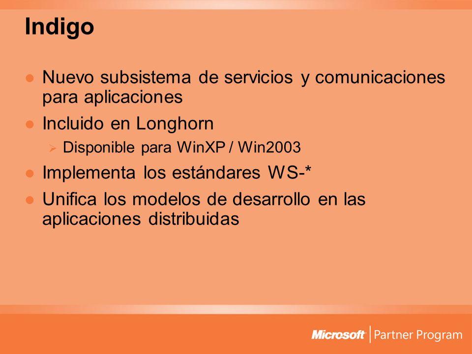 Indigo Nuevo subsistema de servicios y comunicaciones para aplicaciones Incluido en Longhorn Disponible para WinXP / Win2003 Implementa los estándares