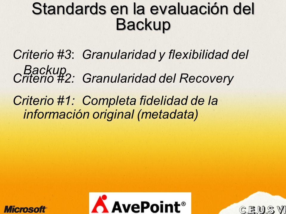 Standards en la evaluación del Backup Criterio #1: Completa fidelidad de la información original (metadata) Criterio #3: Granularidad y flexibilidad d