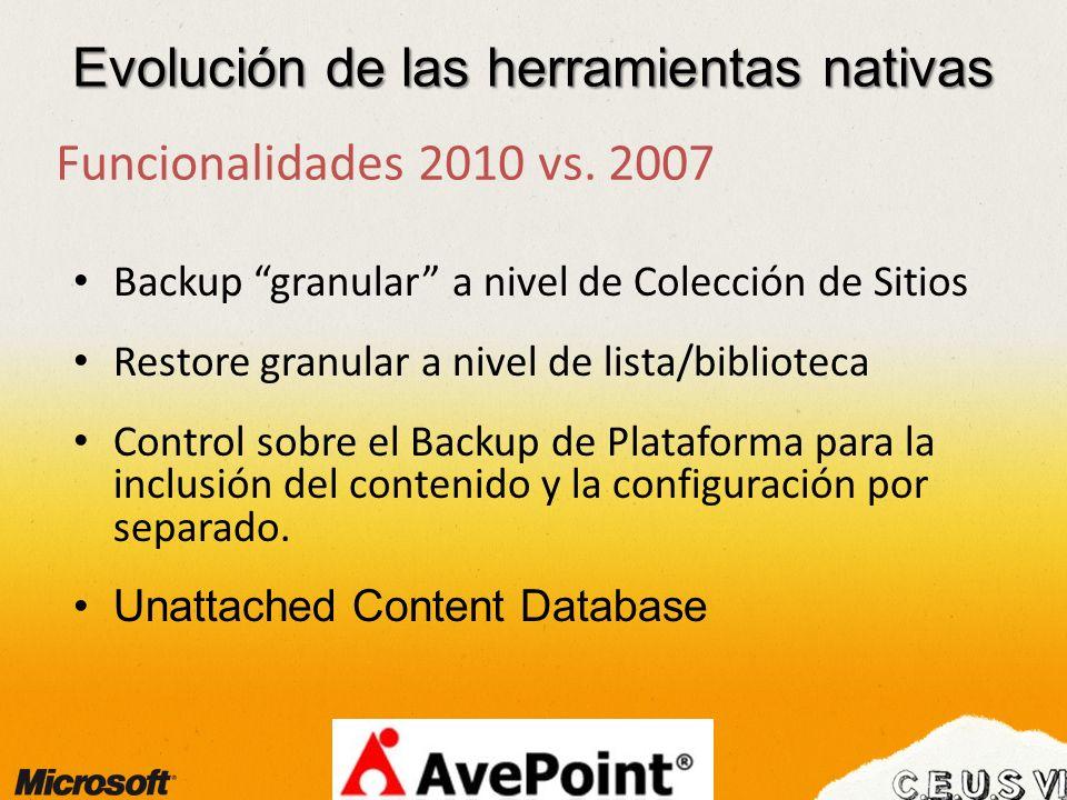 Evolución de las herramientas nativas Funcionalidades 2010 vs. 2007 Backup granular a nivel de Colección de Sitios Restore granular a nivel de lista/b