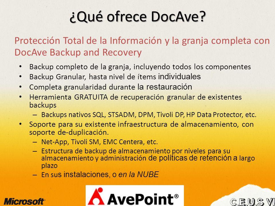 ¿Qué ofrece DocAve? Protección Total de la Información y la granja completa con DocAve Backup and Recovery Backup completo de la granja, incluyendo to