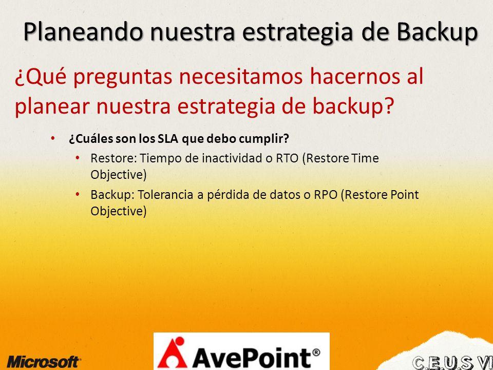 Planeando nuestra estrategia de Backup ¿Qué preguntas necesitamos hacernos al planear nuestra estrategia de backup? ¿Cuáles son los SLA que debo cumpl