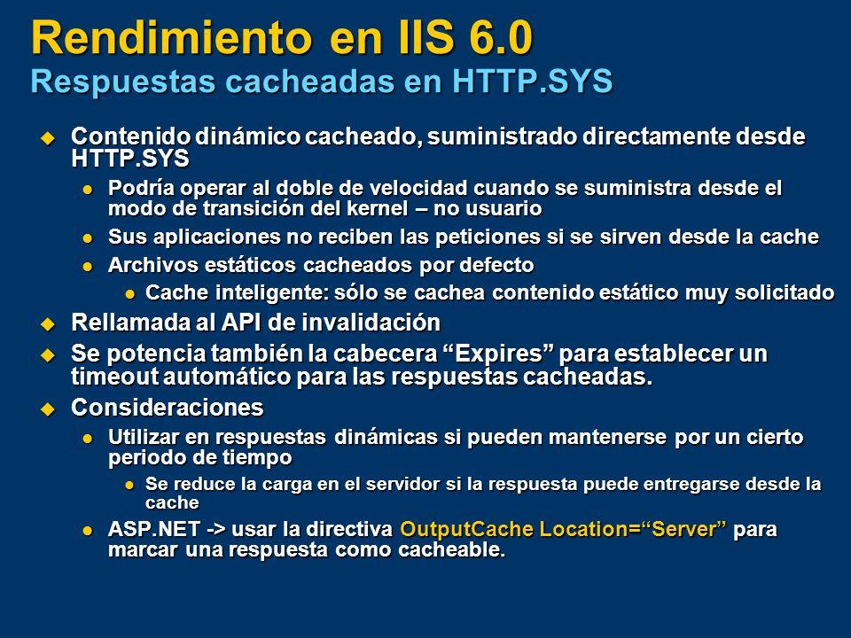 Rendimiento en IIS 6.0 Respuestas cacheadas en HTTP.SYS Contenido dinámico cacheado, suministrado directamente desde HTTP.SYS Contenido dinámico cache