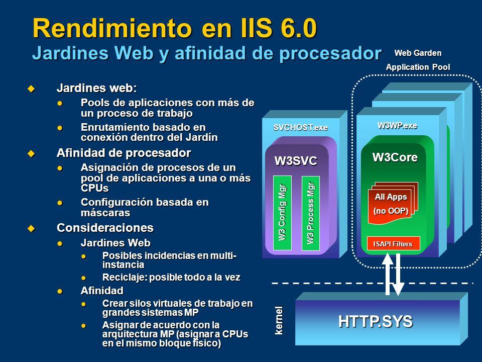 W3Core ISAPI Filters W3WP.exe All Apps (no OOP) W3Core ISAPI Filters W3WP.exe All Apps (no OOP) Rendimiento en IIS 6.0 Jardines Web y afinidad de proc