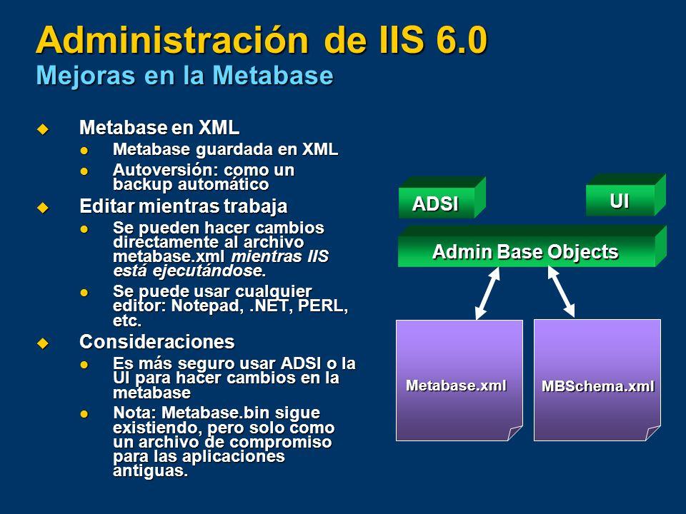 Administración de IIS 6.0 Mejoras en la Metabase Metabase en XML Metabase en XML Metabase guardada en XML Metabase guardada en XML Autoversión: como u