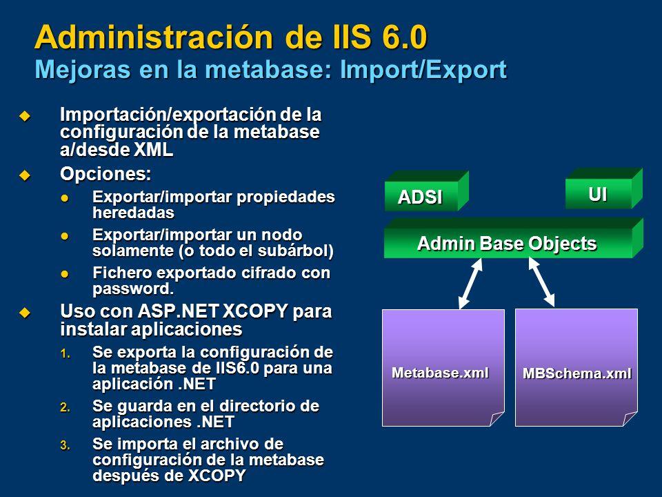Administración de IIS 6.0 Mejoras en la metabase: Import/Export Importación/exportación de la configuración de la metabase a/desde XML Importación/exp