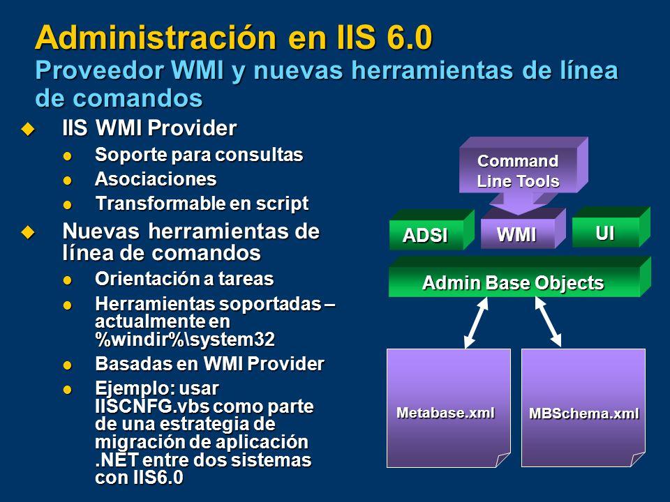 Administración en IIS 6.0 Proveedor WMI y nuevas herramientas de línea de comandos IIS WMI Provider IIS WMI Provider Soporte para consultas Soporte pa