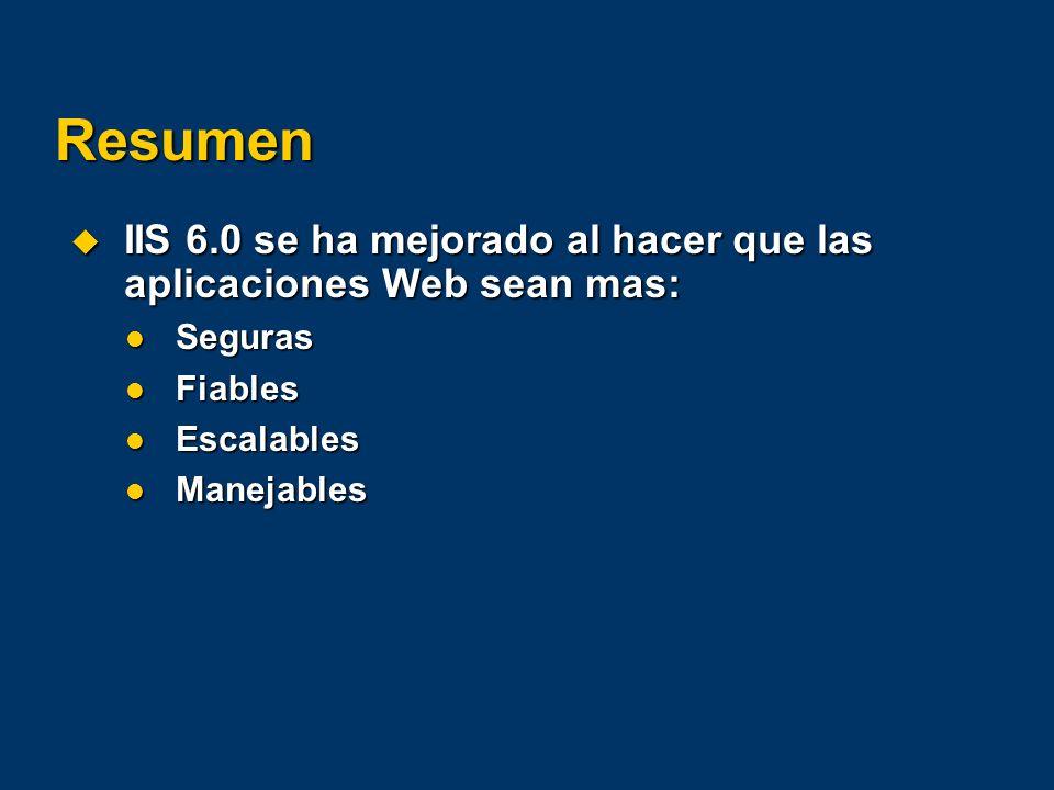 Resumen IIS 6.0 se ha mejorado al hacer que las aplicaciones Web sean mas: IIS 6.0 se ha mejorado al hacer que las aplicaciones Web sean mas: Seguras