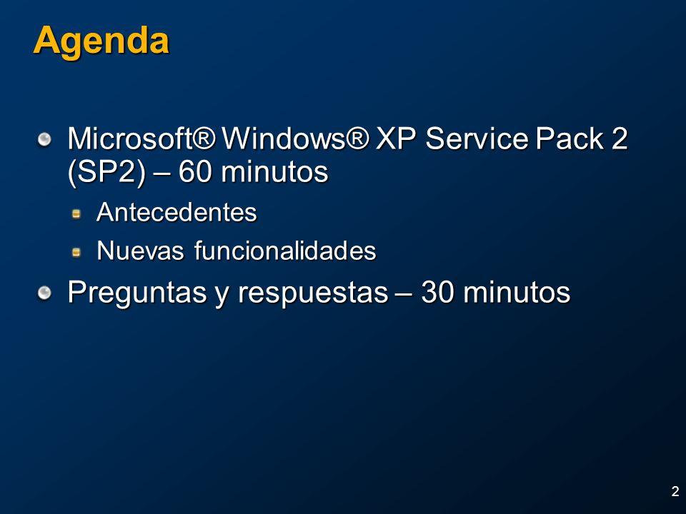 2 Agenda Microsoft® Windows® XP Service Pack 2 (SP2) – 60 minutos Antecedentes Nuevas funcionalidades Preguntas y respuestas – 30 minutos