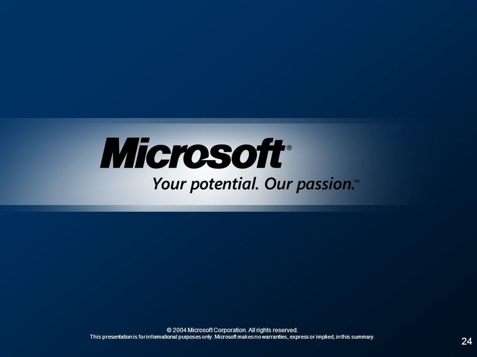 24 © 2004 Microsoft Corporation. All rights reserved. This presentation is for informational purposes only. Microsoft makes no warranties, express or