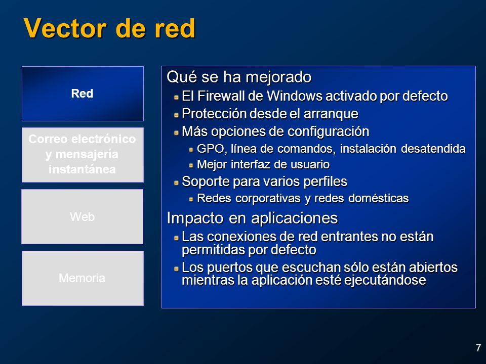 8 Cambios en DCOM y RPC Qué se ha mejorado Autenticación requerida en los interfaces por defecto Es posible restringir programáticamente los interfaces RPC a la máquina local Configuración del acceso y ejecución de permisos para DCOM desde el registro Mueve muchos códigos RPCSS dentro del proceso de privilegio reducido Habilita la opción cliente-controlado al requerir autenticación del mapeador Deshabilita RPC sobre UDP por defecto Impacto en aplicaciones Donde sea apropiado use la nueva API RPC para limitar las llamadas a la máquina local Asegúrese que sus aplicaciones no requieren clientes anónimos No use RPC sobre UDP Red Memoria Correo electrónico y mensajería instantánea Web