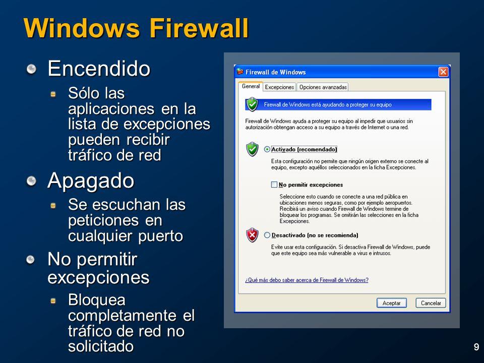 9 Windows Firewall Encendido Sólo las aplicaciones en la lista de excepciones pueden recibir tráfico de red Apagado Se escuchan las peticiones en cual