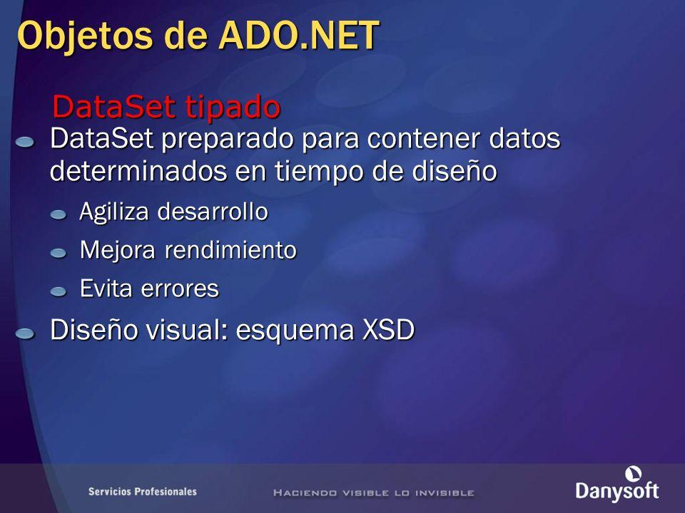 Objetos de ADO.NET DataSet preparado para contener datos determinados en tiempo de diseño Agiliza desarrollo Mejora rendimiento Evita errores Diseño v
