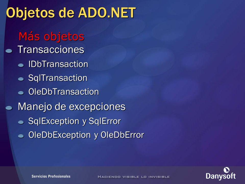 Objetos de ADO.NET TransaccionesIDbTransactionSqlTransactionOleDbTransaction Manejo de excepciones SqlException y SqlError OleDbException y OleDbError