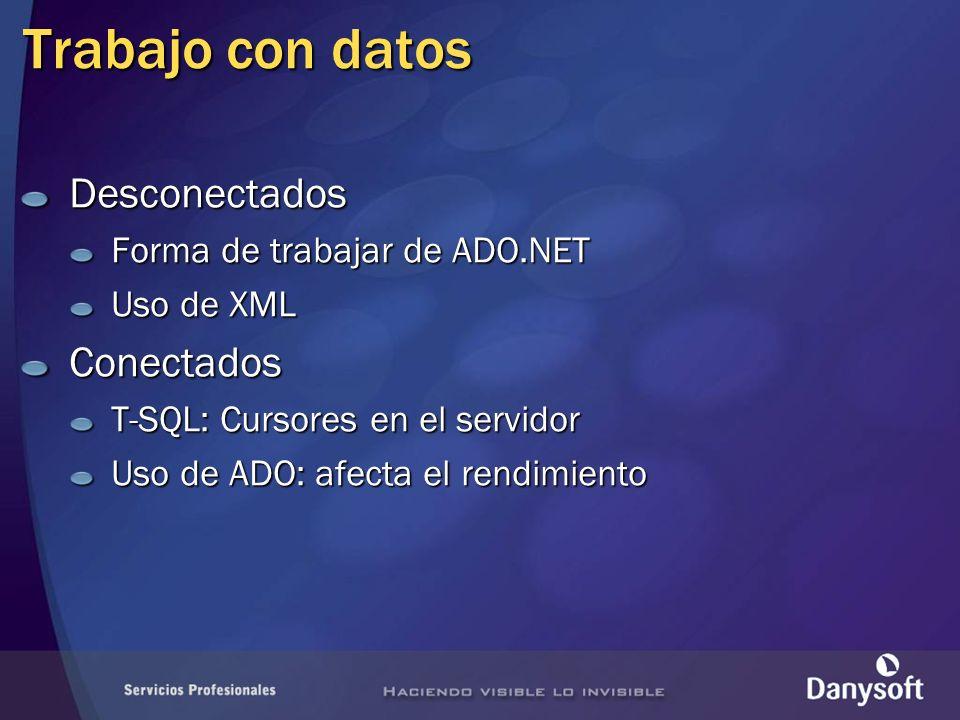 Aplicación data table Objetos de ADO.NET data table Contenedor de datos Cualquier orígen de datos Independiente de este Contiene objetos tabla Contienen objetos fila y columna Integridad de los datos RestriccionesTiposSystem.Data.DataSetSystem.Data.DataTableSystem.Data.DataView Conjunto de datos XML...