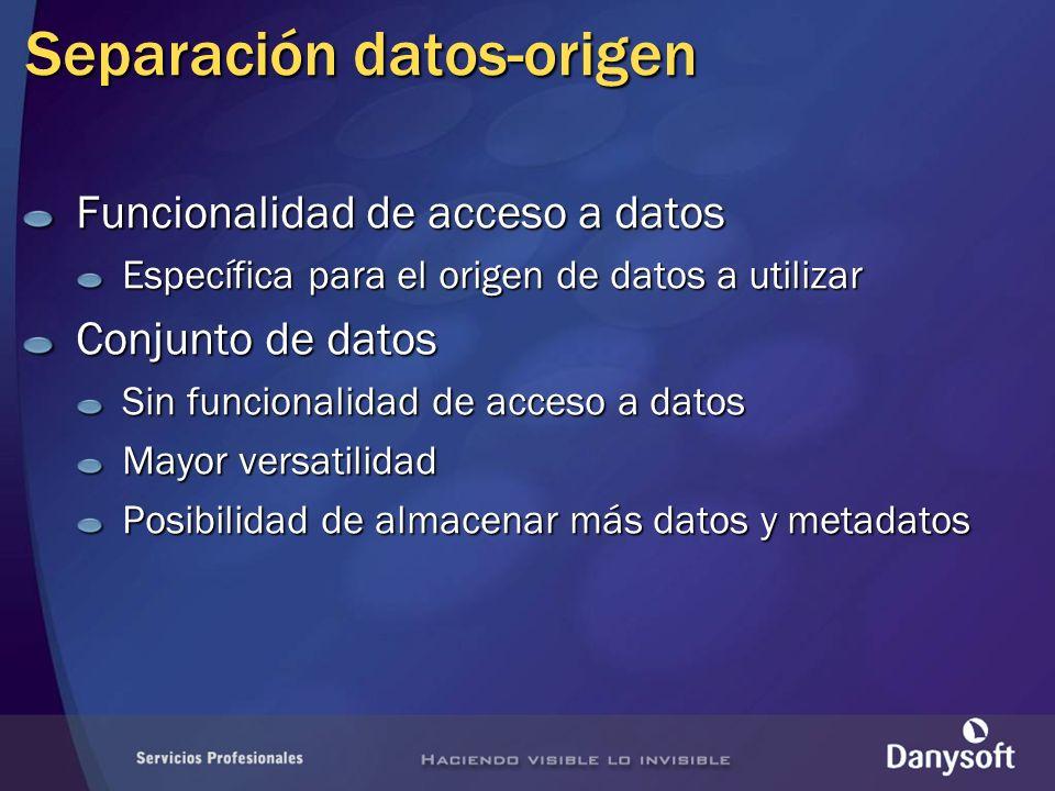 Proveedores de datos Conjunto de objetos creados y optimizados para acceso a un orígen de datos específico InterfacesSystem.Data Clases comunes System.Data.Common Bases de datos SQL Server: System.Data.SqlClient Oracle: System.Data.Oracle Tecnologías estándar: OLE-DB: System.Data.OleDb ODBC: System.Data.Odbc