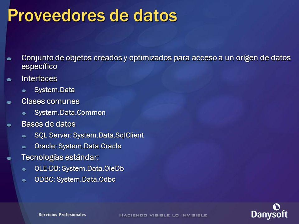 Proveedores de datos Conjunto de objetos creados y optimizados para acceso a un orígen de datos específico InterfacesSystem.Data Clases comunes System