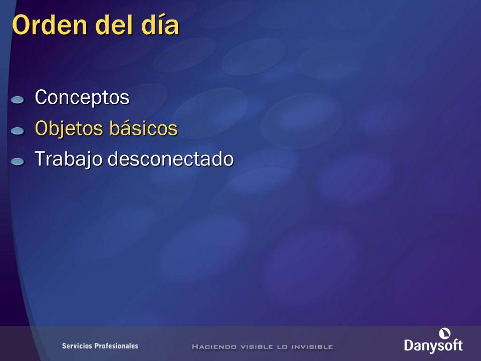 Orden del día Conceptos Objetos básicos Trabajo desconectado