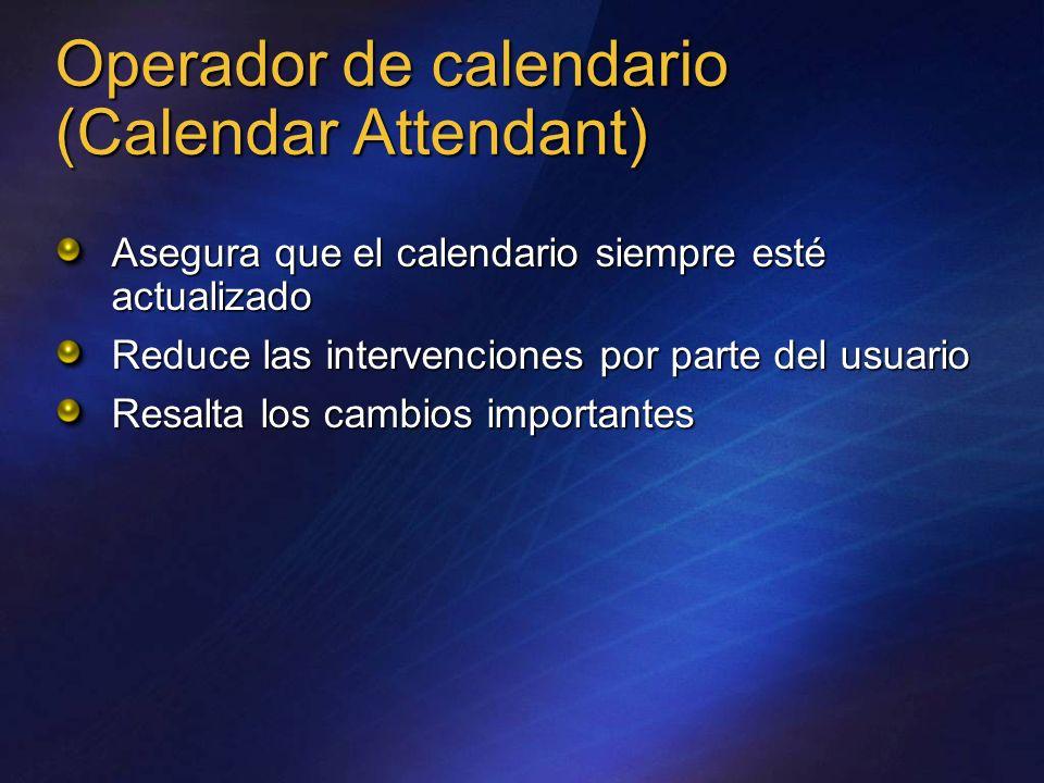 Operador de calendario (Calendar Attendant) Asegura que el calendario siempre esté actualizado Reduce las intervenciones por parte del usuario Resalta