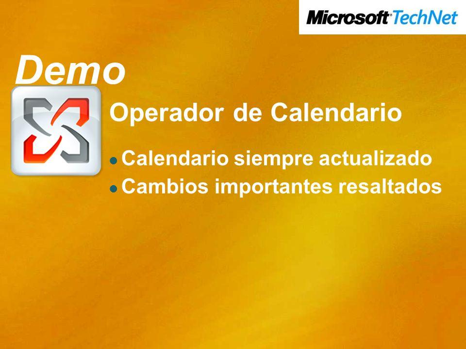 Demo Operador de Calendario Calendario siempre actualizado Cambios importantes resaltados Demo