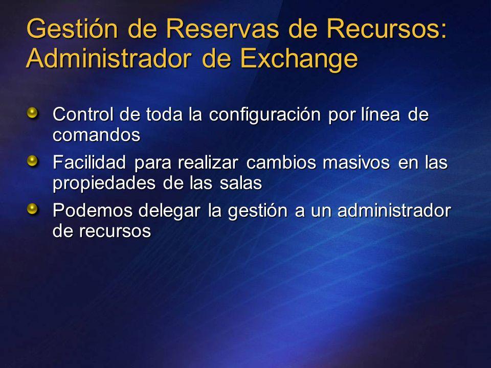 Gestión de Reservas de Recursos: Administrador de Exchange Control de toda la configuración por línea de comandos Facilidad para realizar cambios masi