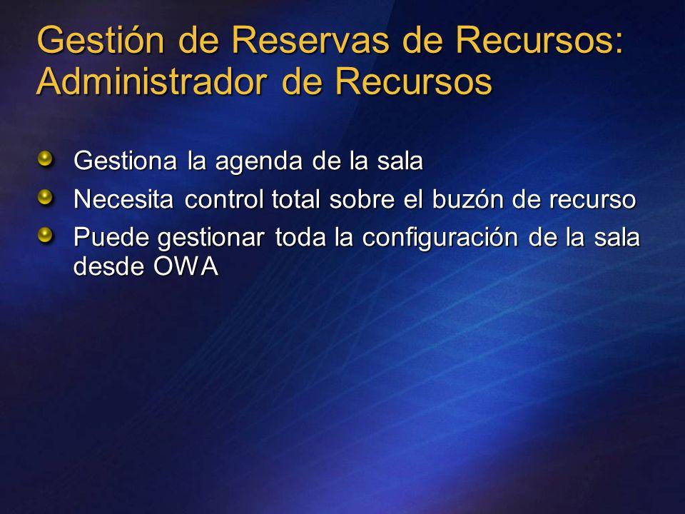 Gestión de Reservas de Recursos: Administrador de Recursos Gestiona la agenda de la sala Necesita control total sobre el buzón de recurso Puede gestio