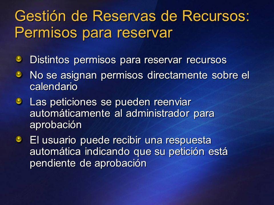 Gestión de Reservas de Recursos: Permisos para reservar Distintos permisos para reservar recursos No se asignan permisos directamente sobre el calenda