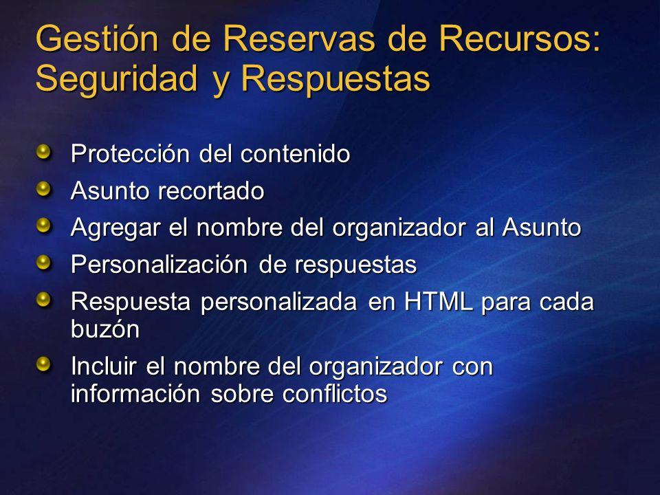 Gestión de Reservas de Recursos: Seguridad y Respuestas Protección del contenido Asunto recortado Agregar el nombre del organizador al Asunto Personal