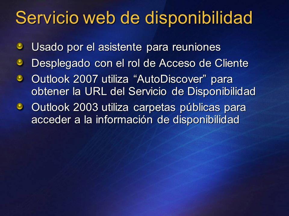 Servicio web de disponibilidad Usado por el asistente para reuniones Desplegado con el rol de Acceso de Cliente Outlook 2007 utiliza AutoDiscover para