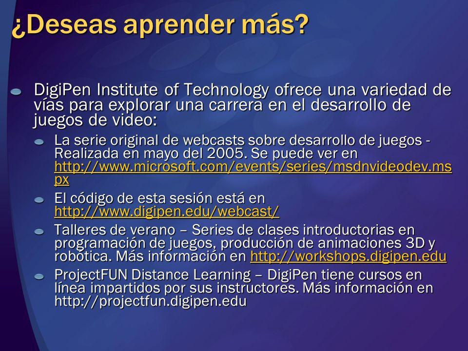 ¿Deseas aprender más? DigiPen Institute of Technology ofrece una variedad de vías para explorar una carrera en el desarrollo de juegos de video: La se