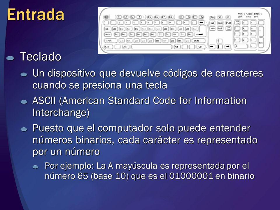 Entrada Teclado Un dispositivo que devuelve códigos de caracteres cuando se presiona una tecla ASCII (American Standard Code for Information Interchan