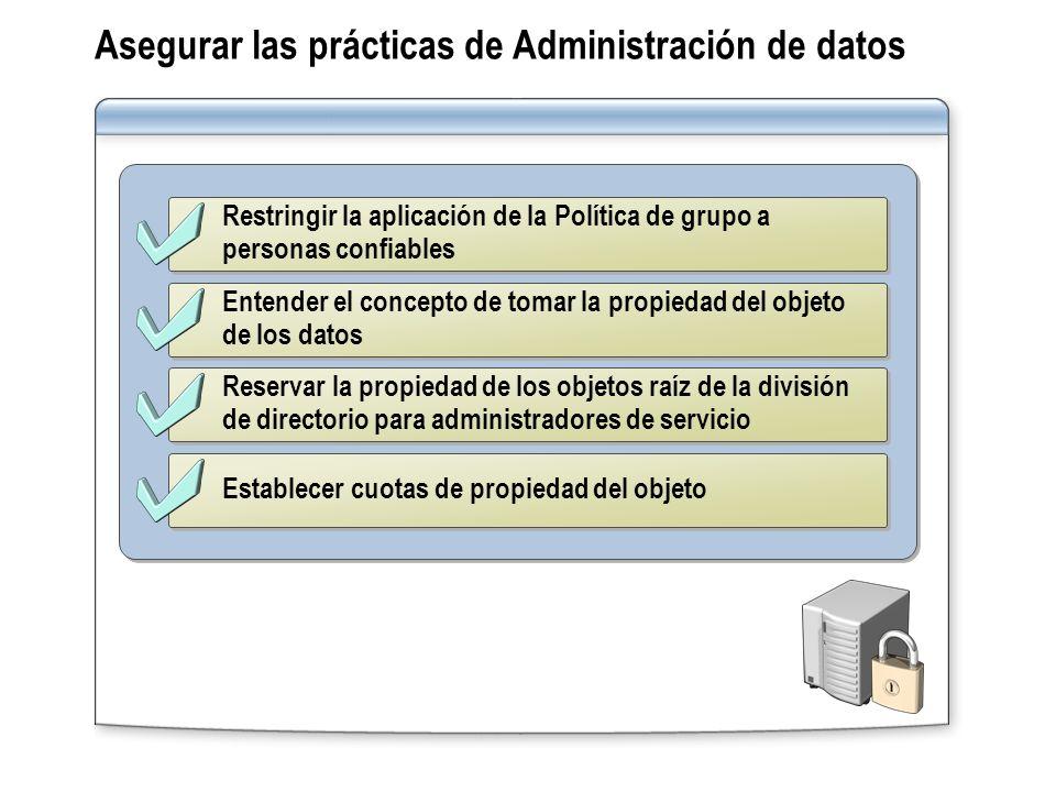 Restringir la aplicación de la Política de grupo a personas confiables Entender el concepto de tomar la propiedad del objeto de los datos Reservar la