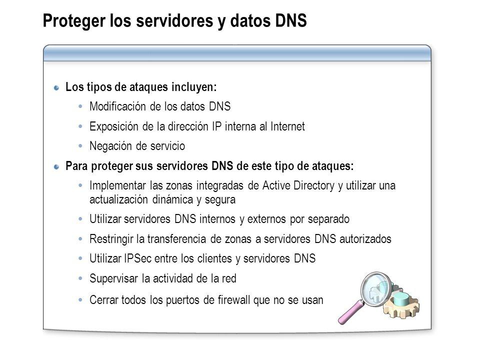 Proteger los servidores y datos DNS Los tipos de ataques incluyen: Modificación de los datos DNS Exposición de la dirección IP interna al Internet Neg