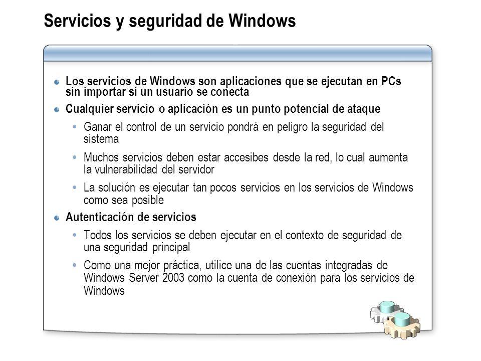 Servicios y seguridad de Windows Los servicios de Windows son aplicaciones que se ejecutan en PCs sin importar si un usuario se conecta Cualquier serv