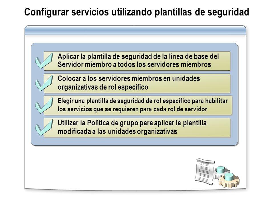Aplicar la plantilla de seguridad de la línea de base del Servidor miembro a todos los servidores miembros Colocar a los servidores miembros en unidad