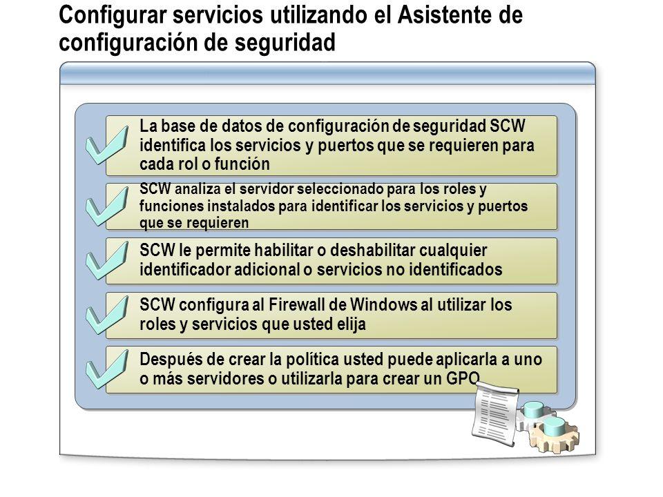 La base de datos de configuración de seguridad SCW identifica los servicios y puertos que se requieren para cada rol o función SCW analiza el servidor