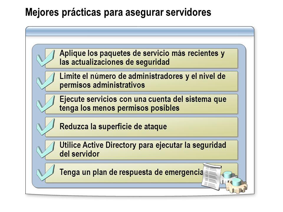 Limite el número de administradores y el nivel de permisos administrativos Ejecute servicios con una cuenta del sistema que tenga los menos permisos p