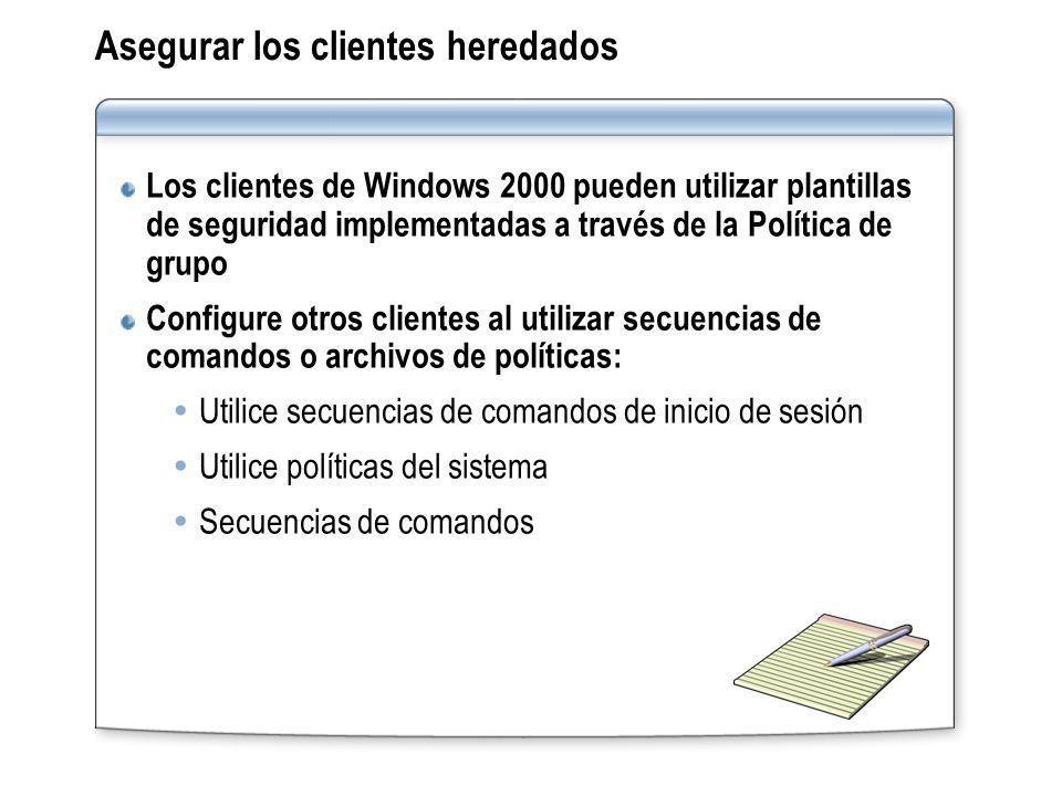 Asegurar los clientes heredados Los clientes de Windows 2000 pueden utilizar plantillas de seguridad implementadas a través de la Política de grupo Co