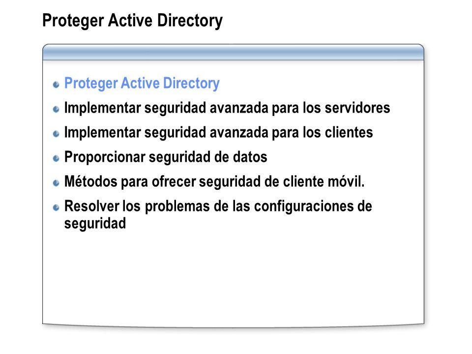 Proteger Active Directory Implementar seguridad avanzada para los servidores Implementar seguridad avanzada para los clientes Proporcionar seguridad d