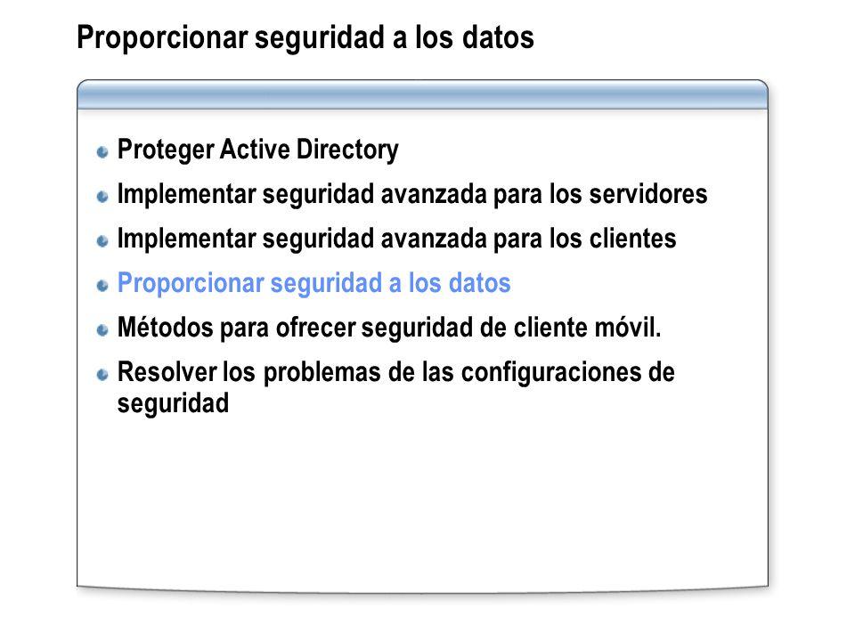Proporcionar seguridad a los datos Proteger Active Directory Implementar seguridad avanzada para los servidores Implementar seguridad avanzada para lo